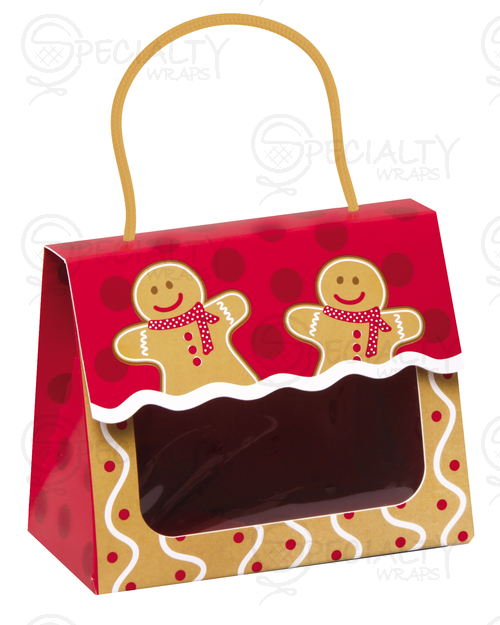 Window Tote w/ Rope Handle, Small, Gingerbread Man