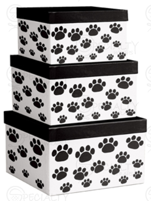 3-Piece Nested Box Set, Square, Paw Prints