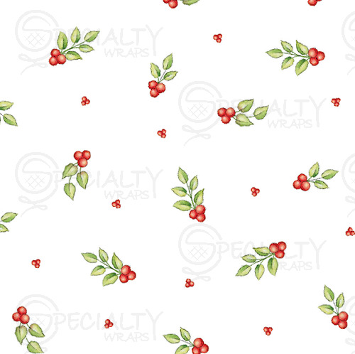 "Printed Cello Bags, Red Berries, Gusseted, 3.5"" x 2"" x 7.5"""
