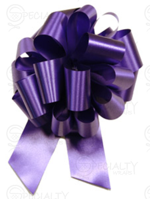 "Poly-Satin Pull-Bow, 4"" wide, Purple"
