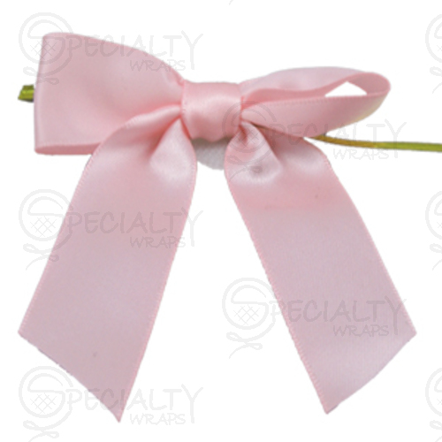 "Pre-Tied Small Satin Bow, 3"" Wide, Light Pink"