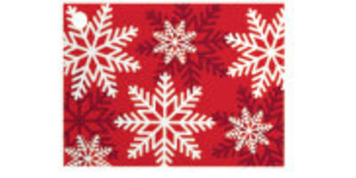 Gift Card - Printed, Red & White Snowflakes