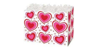 Gift Basket Box - Printed, Large, Flirty Hearts