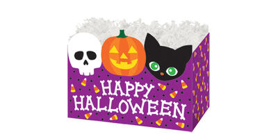 Gift Basket Box - Printed, Large, Happy Halloween