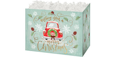 Gift Basket Box - Printed, Large, Christmas Wishes