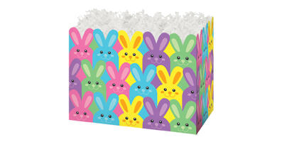 Gift Basket Box - Printed, Small, Easter Bunnies