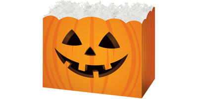 Gift Basket Box - Printed, Small, Halloween Pumpkin