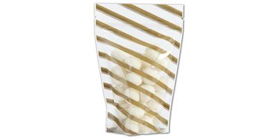 "Reclosable Zippered Pouch, Candy Stripes-Gold, 4"" x 6"" x 2"""