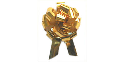 "Metallic Pull Bow, 5"" wide, Gold"