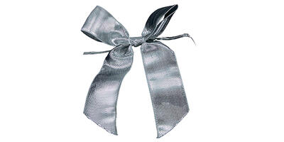 "Pre-Tied Small Satin Bow, 2"" Wide, Silver"