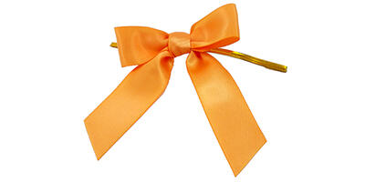 "Pre-Tied Small Satin Bow, 3"" Wide, Gold"