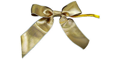 "Pre-Tied Small Satin Bow, 3"" Wide, Gold Metallic"
