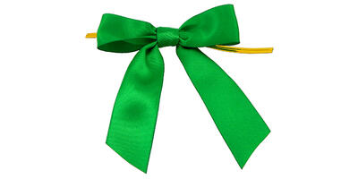 "Pre-Tied Small Satin Bow, 3"" Wide, Emerald"