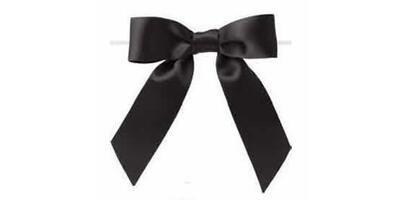 "Pre-Tied Small Satin Bow, 3"" Wide, Black"