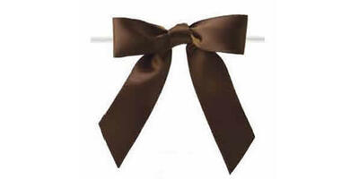 "Pre-Tied Small Satin Bow, 3"" Wide, Dark Chocolate"