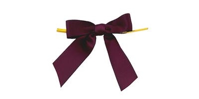 "Pre-Tied Small Satin Bow, 3"" Wide, Burgundy"