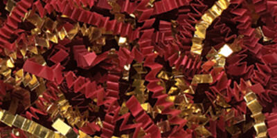 Crinkle Cut Paper Shred, Red/Gold Blend, 10#